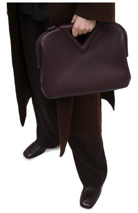 Женская сумка point medium BOTTEGA VENETA темно-фиолетового цвета, арт. 652446/VCP40 | Фото 2 (Ремень/цепочка: На ремешке; Сумки-технические: Сумки top-handle, Сумки через плечо; Размер: medium; Материал: Натуральная кожа)