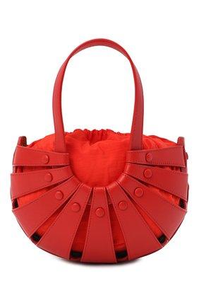 Женская сумка shell small BOTTEGA VENETA красного цвета, арт. 651819/VMAUH   Фото 1 (Материал: Натуральная кожа; Сумки-технические: Сумки через плечо, Сумки top-handle; Ремень/цепочка: На ремешке; Размер: small)