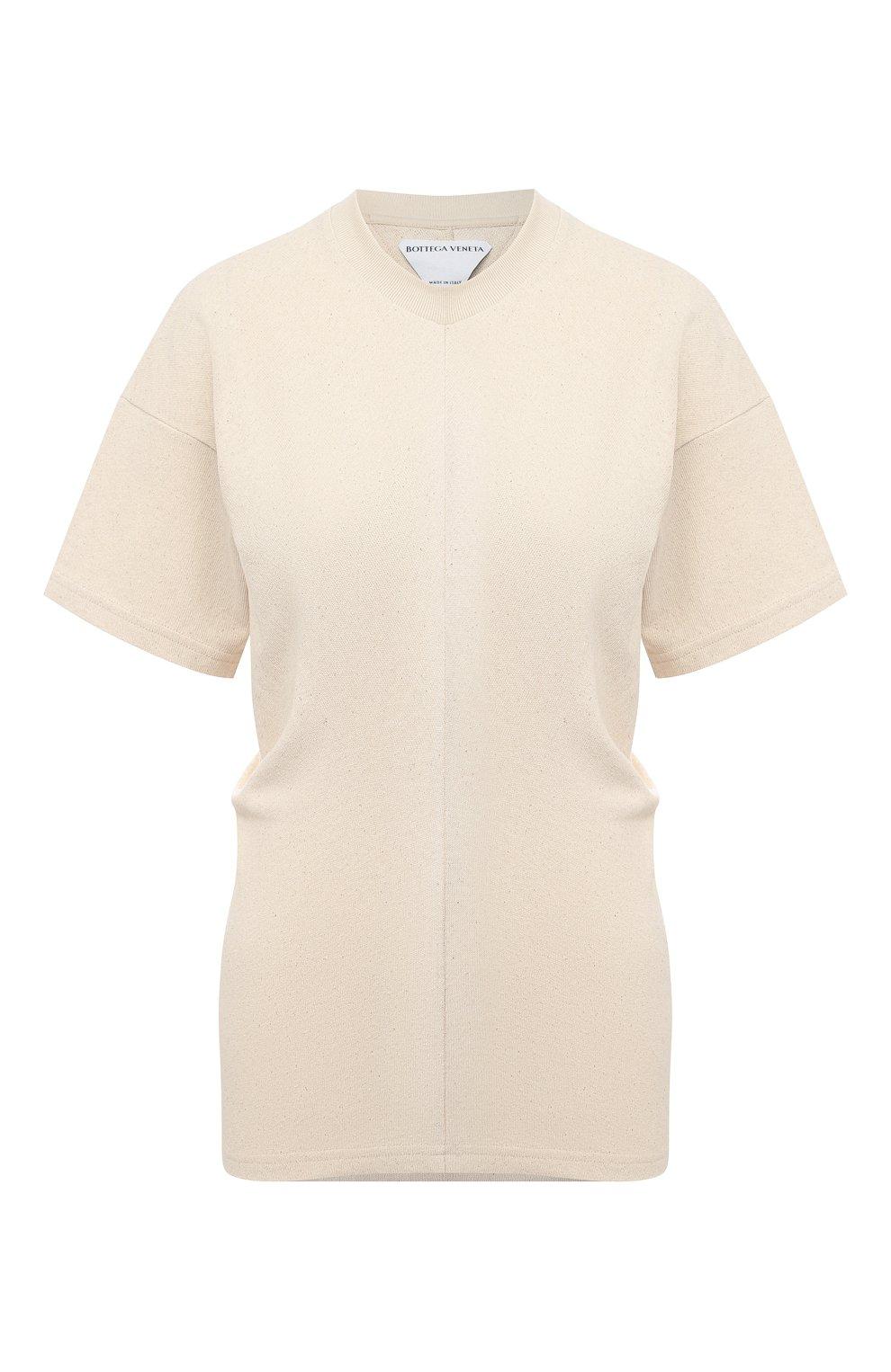 Женская хлопковая футболка BOTTEGA VENETA светло-бежевого цвета, арт. 648233/V0I50 | Фото 1