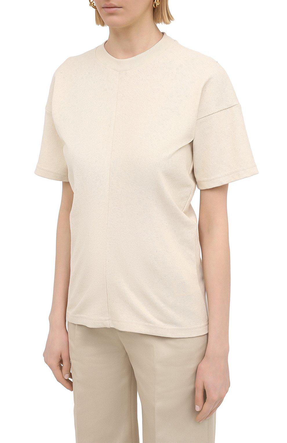 Женская хлопковая футболка BOTTEGA VENETA светло-бежевого цвета, арт. 648233/V0I50 | Фото 3