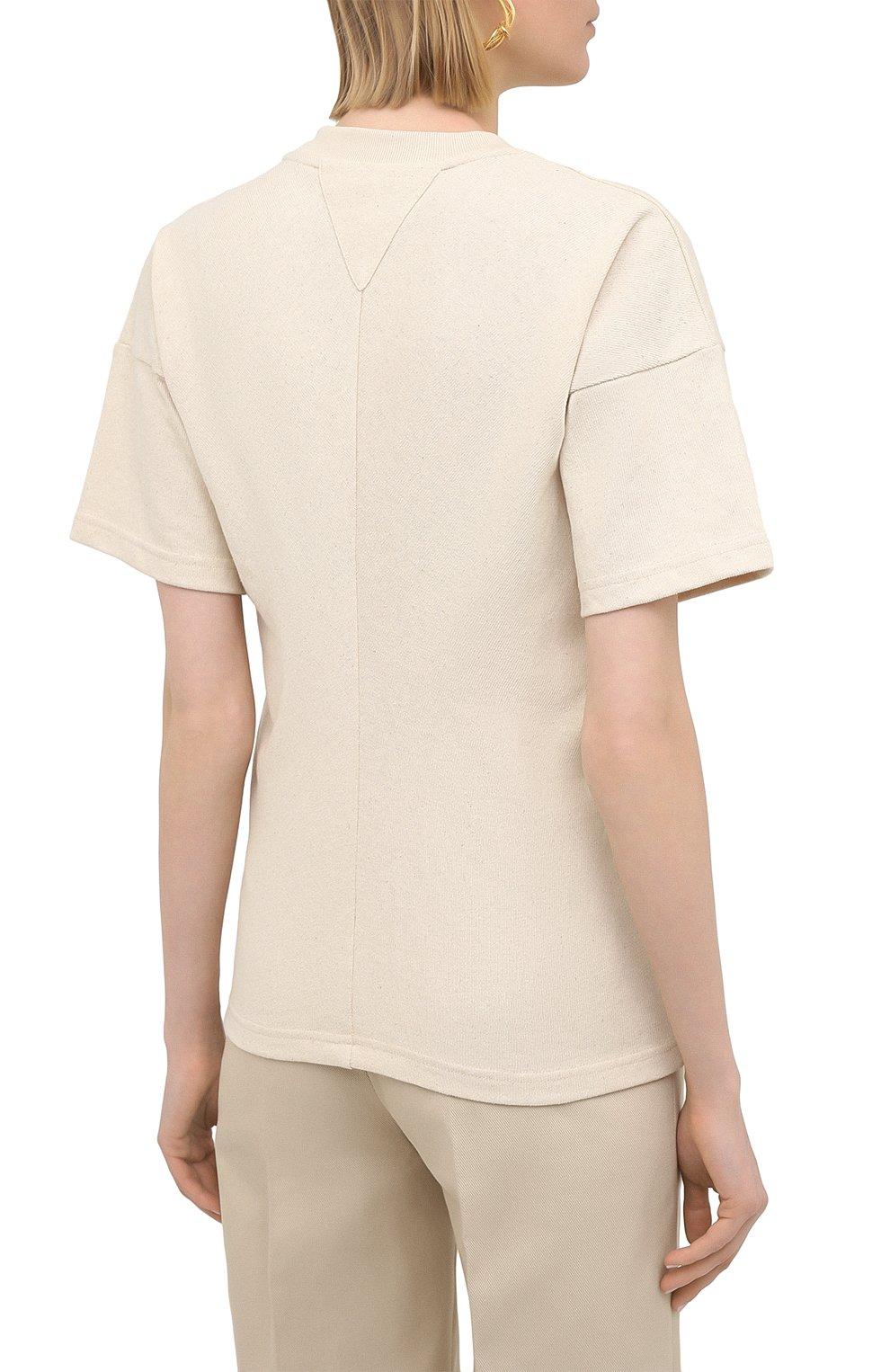 Женская хлопковая футболка BOTTEGA VENETA светло-бежевого цвета, арт. 648233/V0I50 | Фото 4