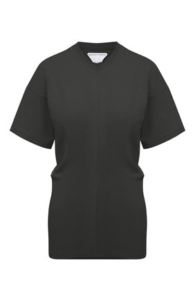 Женская хлопковая футболка BOTTEGA VENETA темно-зеленого цвета, арт. 648233/V0I50   Фото 1