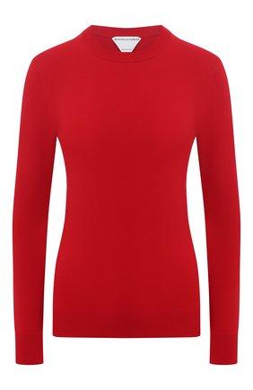 Женский пуловер из вискозы BOTTEGA VENETA красного цвета, арт. 647547/VKJK0   Фото 1 (Женское Кросс-КТ: Пуловер-одежда; Рукава: Длинные; Материал внешний: Синтетический материал, Вискоза; Длина (для топов): Стандартные; Стили: Гламурный)