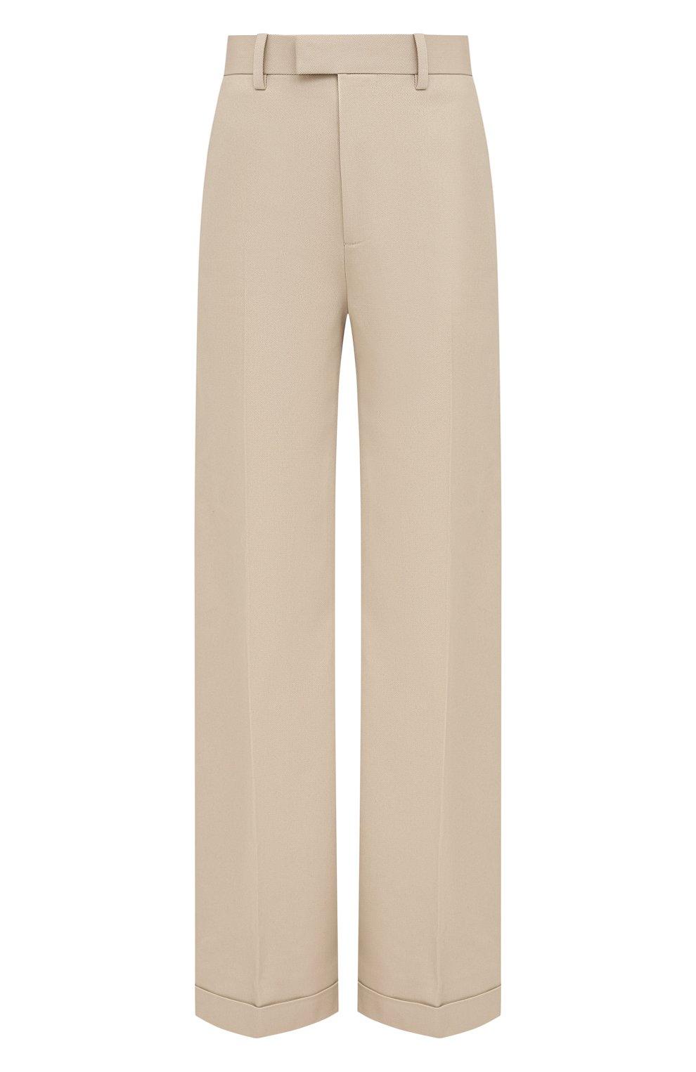 Женские хлопковые брюки BOTTEGA VENETA бежевого цвета, арт. 644546/VF4T0   Фото 1