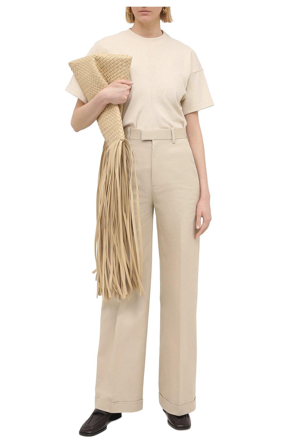 Женские хлопковые брюки BOTTEGA VENETA бежевого цвета, арт. 644546/VF4T0   Фото 2