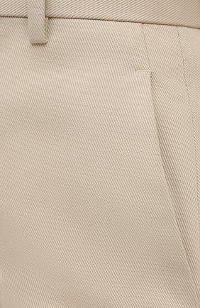 Женские хлопковые брюки BOTTEGA VENETA бежевого цвета, арт. 644546/VF4T0   Фото 5