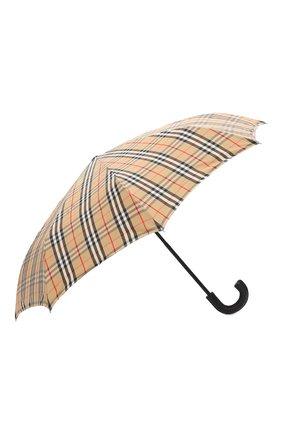 Мужской складной зонт BURBERRY бежевого цвета, арт. 8024782 | Фото 2