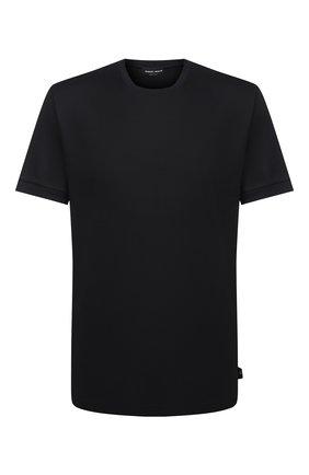 Мужская хлопковая футболка GIORGIO ARMANI черного цвета, арт. 3KSM93/SJXDZ | Фото 1 (Рукава: Короткие; Длина (для топов): Стандартные; Стили: Кэжуэл; Принт: Без принта; Материал внешний: Хлопок)