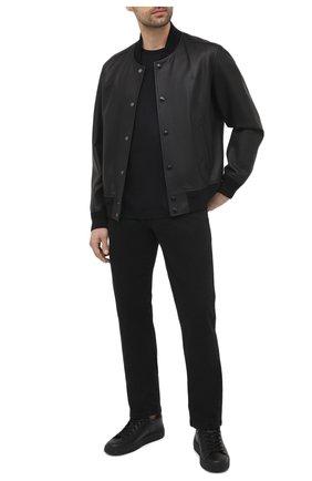 Мужская хлопковая футболка GIORGIO ARMANI черного цвета, арт. 3KSM93/SJXDZ | Фото 2 (Рукава: Короткие; Длина (для топов): Стандартные; Стили: Кэжуэл; Принт: Без принта; Материал внешний: Хлопок)