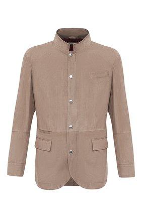 Мужская замшевая куртка BRUNELLO CUCINELLI бежевого цвета, арт. MPCLN1636 | Фото 1 (Кросс-КТ: Куртка; Материал внешний: Замша, Кожа; Рукава: Длинные; Длина (верхняя одежда): До середины бедра; Мужское Кросс-КТ: Кожа и замша; Материал подклада: Купро; Стили: Кэжуэл)