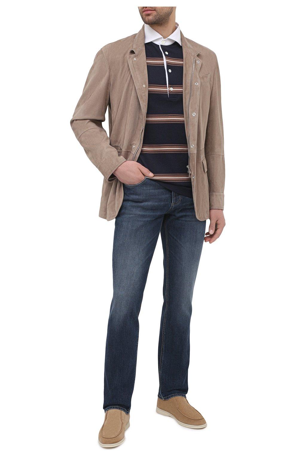 Мужская замшевая куртка BRUNELLO CUCINELLI бежевого цвета, арт. MPCLN1636 | Фото 2 (Кросс-КТ: Куртка; Материал внешний: Замша, Кожа; Рукава: Длинные; Длина (верхняя одежда): До середины бедра; Мужское Кросс-КТ: Кожа и замша; Материал подклада: Купро; Стили: Кэжуэл)
