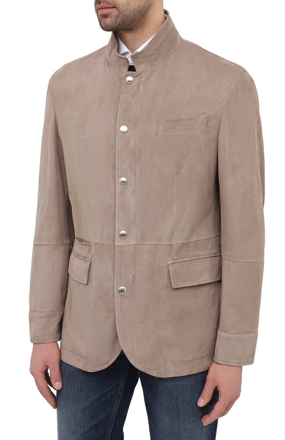 Мужская замшевая куртка BRUNELLO CUCINELLI бежевого цвета, арт. MPCLN1636 | Фото 3 (Кросс-КТ: Куртка; Материал внешний: Замша, Кожа; Рукава: Длинные; Длина (верхняя одежда): До середины бедра; Мужское Кросс-КТ: Кожа и замша; Материал подклада: Купро; Стили: Кэжуэл)