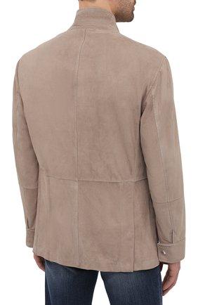 Мужская замшевая куртка BRUNELLO CUCINELLI бежевого цвета, арт. MPCLN1636 | Фото 4 (Кросс-КТ: Куртка; Материал внешний: Замша, Кожа; Рукава: Длинные; Длина (верхняя одежда): До середины бедра; Мужское Кросс-КТ: Кожа и замша; Материал подклада: Купро; Стили: Кэжуэл)