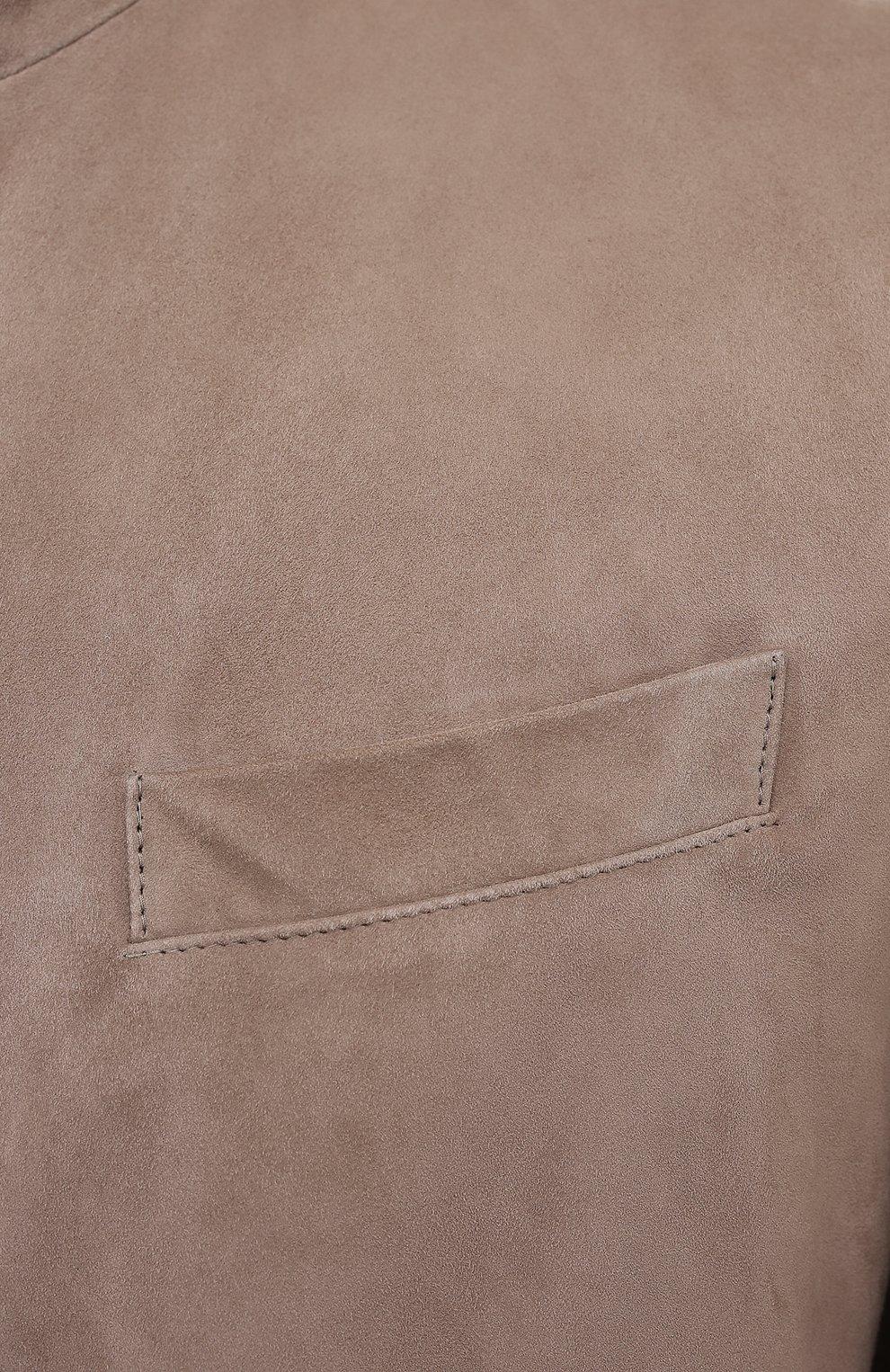 Мужская замшевая куртка BRUNELLO CUCINELLI бежевого цвета, арт. MPCLN1636 | Фото 5 (Кросс-КТ: Куртка; Материал внешний: Замша, Кожа; Рукава: Длинные; Длина (верхняя одежда): До середины бедра; Мужское Кросс-КТ: Кожа и замша; Материал подклада: Купро; Стили: Кэжуэл)