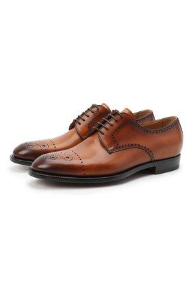 Мужские кожаные дерби KITON коричневого цвета, арт. USSDECHN00101 | Фото 1 (Стили: Классический; Материал внутренний: Натуральная кожа; Мужское Кросс-КТ: Броги-обувь)