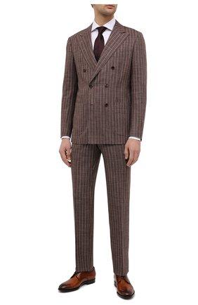 Мужские кожаные дерби KITON коричневого цвета, арт. USSDECHN00101 | Фото 2 (Стили: Классический; Материал внутренний: Натуральная кожа; Мужское Кросс-КТ: Броги-обувь)