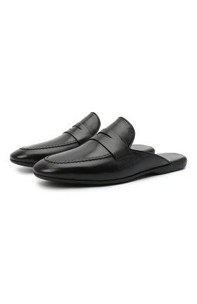 Мужского кожаные домашние туфли FARFALLA черного цвета, арт. G13 | Фото 1 (Материал внутренний: Натуральная кожа; Мужское Кросс-КТ: тапочки-обувь)