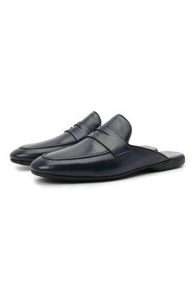 Мужского кожаные домашние туфли FARFALLA темно-синего цвета, арт. G13 | Фото 1 (Материал внутренний: Натуральная кожа; Мужское Кросс-КТ: тапочки-обувь)