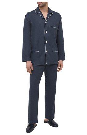 Мужского кожаные домашние туфли FARFALLA темно-синего цвета, арт. G13 | Фото 2 (Материал внутренний: Натуральная кожа; Мужское Кросс-КТ: тапочки-обувь)