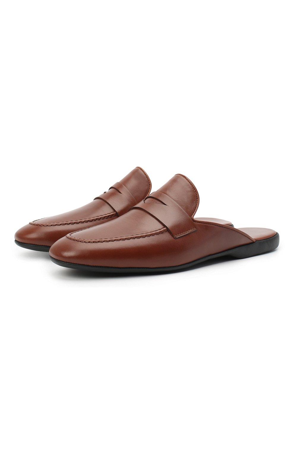 Мужского кожаные домашние туфли FARFALLA коричневого цвета, арт. G13   Фото 1 (Материал внутренний: Натуральная кожа; Мужское Кросс-КТ: тапочки-обувь)
