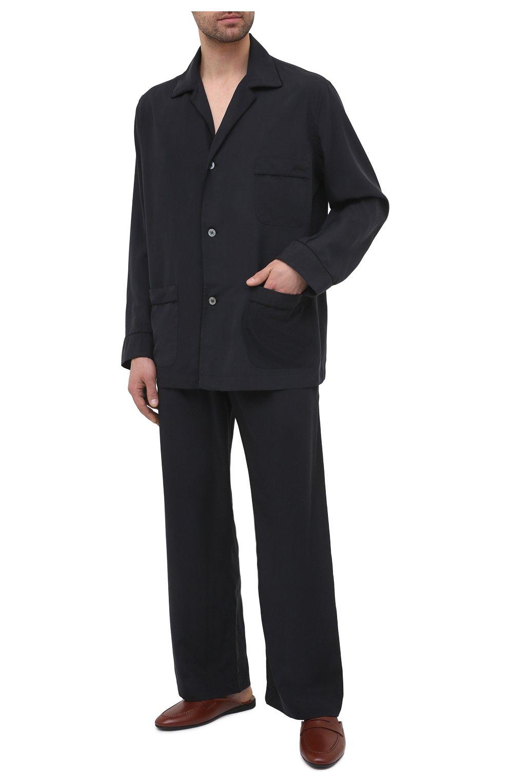 Мужского кожаные домашние туфли FARFALLA коричневого цвета, арт. G13   Фото 2 (Материал внутренний: Натуральная кожа; Мужское Кросс-КТ: тапочки-обувь)