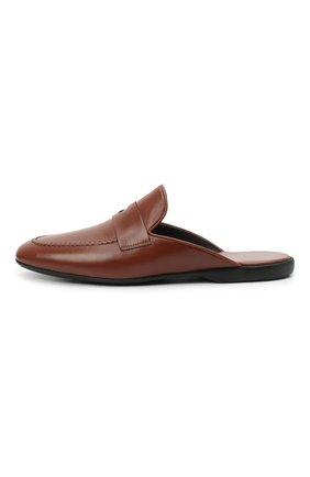 Мужского кожаные домашние туфли FARFALLA коричневого цвета, арт. G13   Фото 3 (Материал внутренний: Натуральная кожа; Мужское Кросс-КТ: тапочки-обувь)