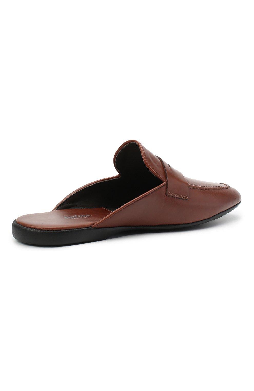 Мужского кожаные домашние туфли FARFALLA коричневого цвета, арт. G13   Фото 4 (Материал внутренний: Натуральная кожа; Мужское Кросс-КТ: тапочки-обувь)