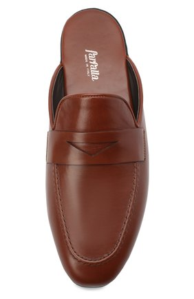 Мужского кожаные домашние туфли FARFALLA коричневого цвета, арт. G13   Фото 5 (Материал внутренний: Натуральная кожа; Мужское Кросс-КТ: тапочки-обувь)