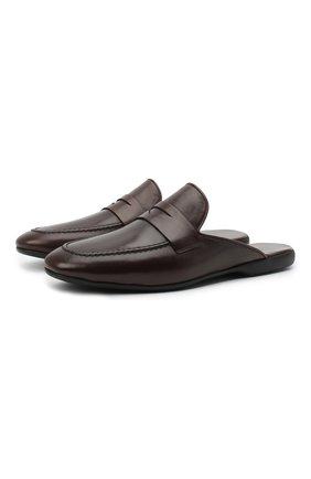 Мужского кожаные домашние туфли FARFALLA темно-коричневого цвета, арт. G13 | Фото 1 (Материал внутренний: Натуральная кожа; Мужское Кросс-КТ: тапочки-обувь)