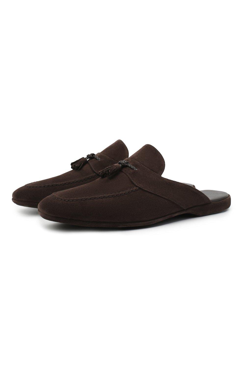 Мужского замшевые домашние туфли FARFALLA темно-коричневого цвета, арт. G2NT   Фото 1 (Материал внутренний: Натуральная кожа; Материал внешний: Замша; Мужское Кросс-КТ: тапочки-обувь)
