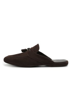 Мужского замшевые домашние туфли FARFALLA темно-коричневого цвета, арт. G2NT   Фото 3 (Материал внутренний: Натуральная кожа; Материал внешний: Замша; Мужское Кросс-КТ: тапочки-обувь)