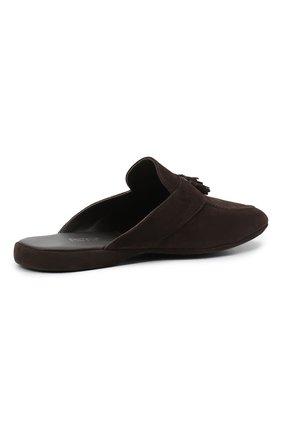 Мужского замшевые домашние туфли FARFALLA темно-коричневого цвета, арт. G2NT   Фото 4 (Материал внутренний: Натуральная кожа; Материал внешний: Замша; Мужское Кросс-КТ: тапочки-обувь)