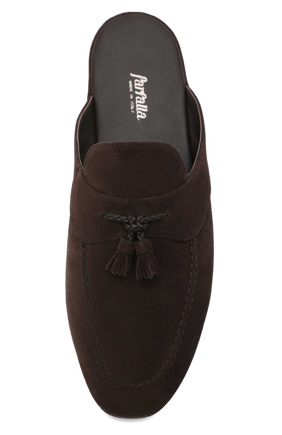 Мужского замшевые домашние туфли FARFALLA темно-коричневого цвета, арт. G2NT   Фото 5 (Материал внутренний: Натуральная кожа; Материал внешний: Замша; Мужское Кросс-КТ: тапочки-обувь)