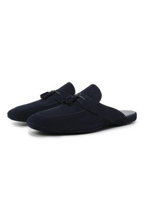 Мужского замшевые домашние туфли FARFALLA синего цвета, арт. G2NT | Фото 1 (Материал внутренний: Натуральная кожа; Мужское Кросс-КТ: тапочки-обувь; Материал внешний: Замша)