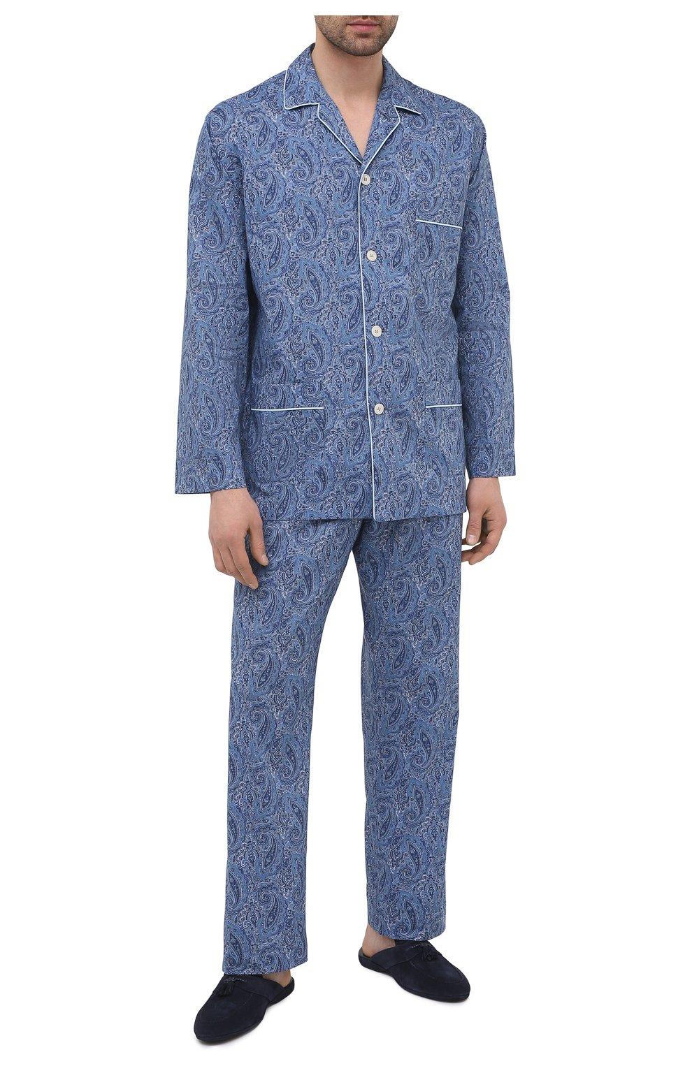 Мужского замшевые домашние туфли FARFALLA синего цвета, арт. G2NT   Фото 2 (Материал внутренний: Натуральная кожа; Материал внешний: Замша; Мужское Кросс-КТ: тапочки-обувь)
