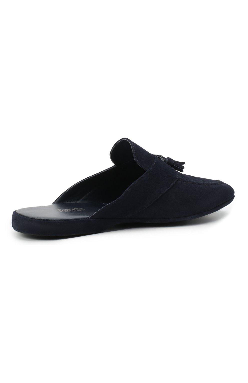 Мужского замшевые домашние туфли FARFALLA синего цвета, арт. G2NT   Фото 4 (Материал внутренний: Натуральная кожа; Материал внешний: Замша; Мужское Кросс-КТ: тапочки-обувь)