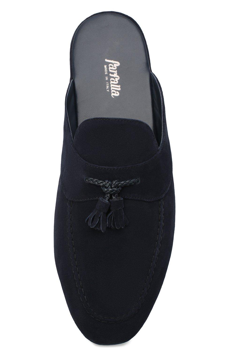 Мужского замшевые домашние туфли FARFALLA синего цвета, арт. G2NT   Фото 5 (Материал внутренний: Натуральная кожа; Материал внешний: Замша; Мужское Кросс-КТ: тапочки-обувь)