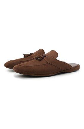 Мужского замшевые домашние туфли FARFALLA коричневого цвета, арт. G2NT | Фото 1 (Материал внутренний: Натуральная кожа; Мужское Кросс-КТ: тапочки-обувь; Материал внешний: Замша)