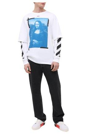 Мужская хлопковый лонгслив OFF-WHITE белого цвета, арт. 0MAB022R21JER001   Фото 2