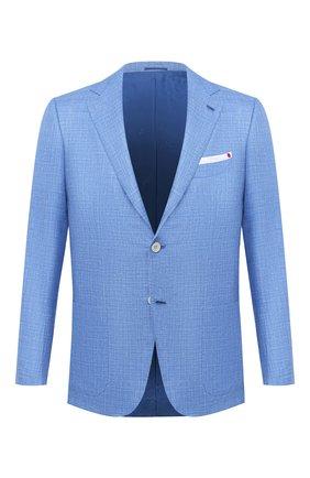 Мужской пиджак из кашемира и шелка KITON голубого цвета, арт. UG81K06T46   Фото 1