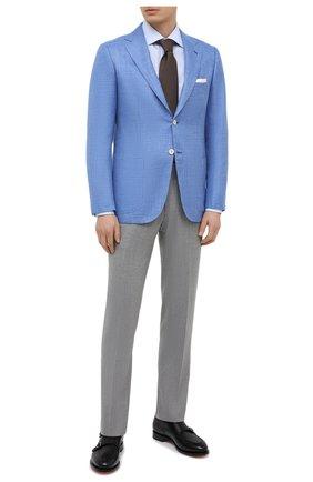 Мужской пиджак из кашемира и шелка KITON голубого цвета, арт. UG81K06T46   Фото 2