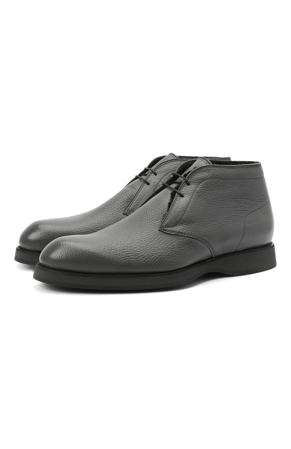 Мужские кожаные ботинки BRIONI серого цвета, арт. QQC30L/09712   Фото 1