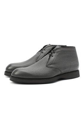 Мужские кожаные ботинки BRIONI серого цвета, арт. QQC30L/09712 | Фото 1