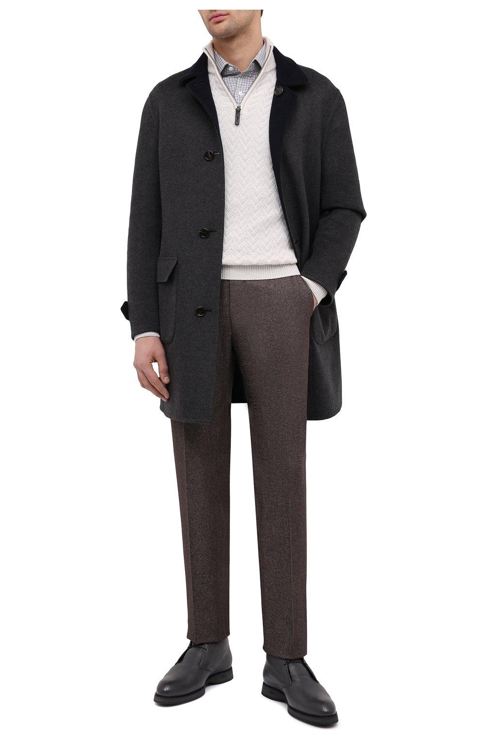 Мужские кожаные ботинки BRIONI серого цвета, арт. QQC30L/09712   Фото 2