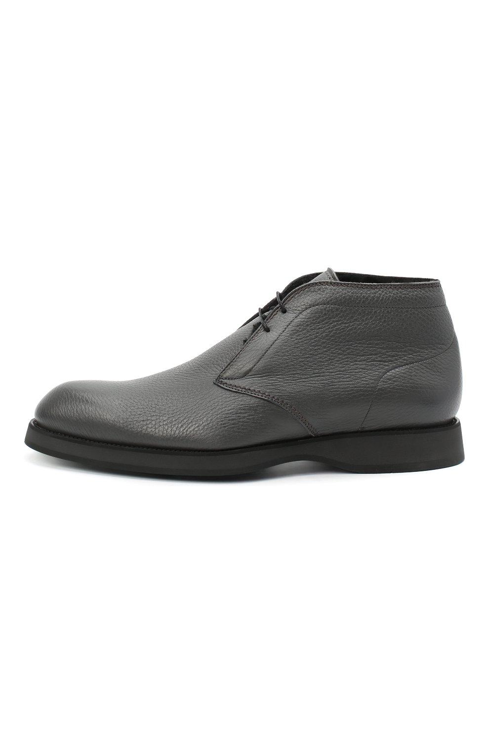 Мужские кожаные ботинки BRIONI серого цвета, арт. QQC30L/09712   Фото 3