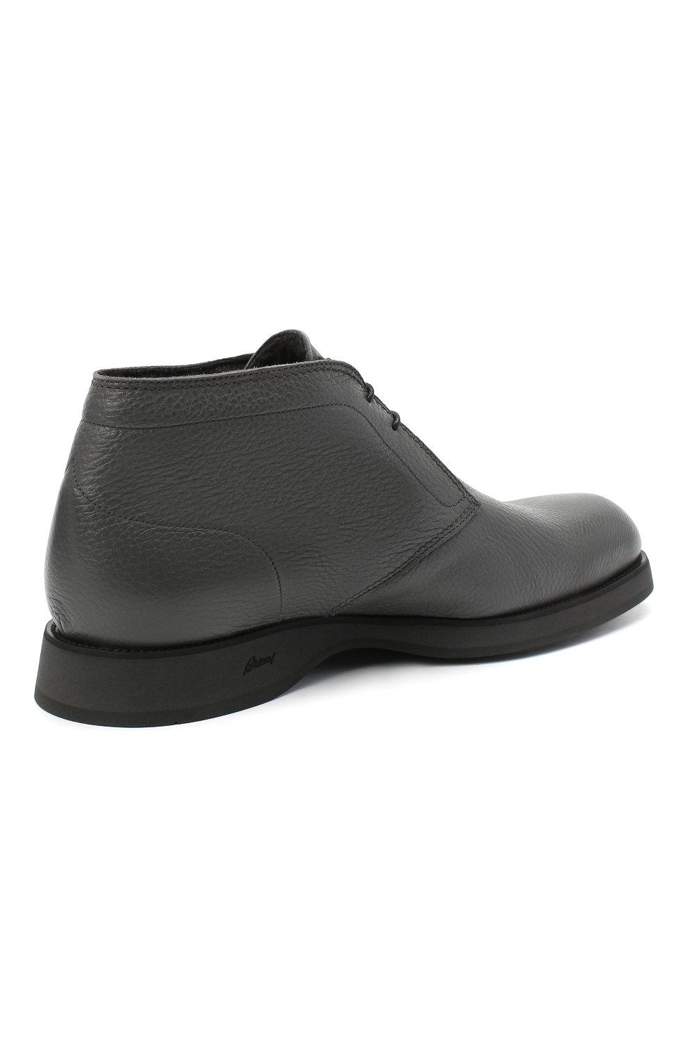 Мужские кожаные ботинки BRIONI серого цвета, арт. QQC30L/09712   Фото 4
