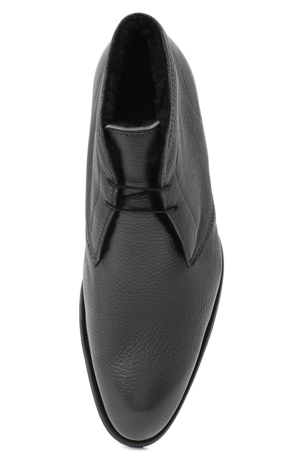 Мужские кожаные ботинки BRIONI серого цвета, арт. QQC30L/09712   Фото 5