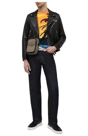 Мужские кожаные кеды BALMAIN черно-белого цвета, арт. VM1C244/LSMM   Фото 2
