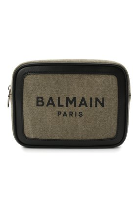 Мужская текстильная поясная сумка BALMAIN хаки цвета, арт. VM1S143/TCSY | Фото 1