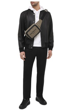 Мужская текстильная поясная сумка BALMAIN хаки цвета, арт. VM1S143/TCSY | Фото 2